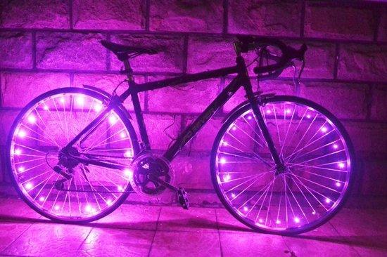 led wielverlichting fiets set van 2 roze