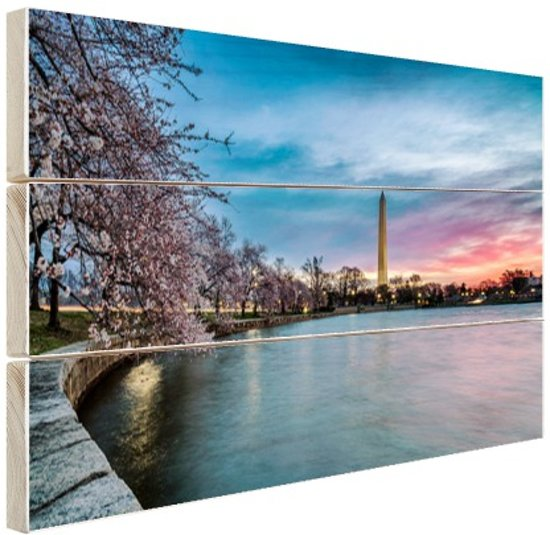 Washington monument bij zonsopkomst Hout 120x80 cm - Foto print op Hout (Wanddecoratie)