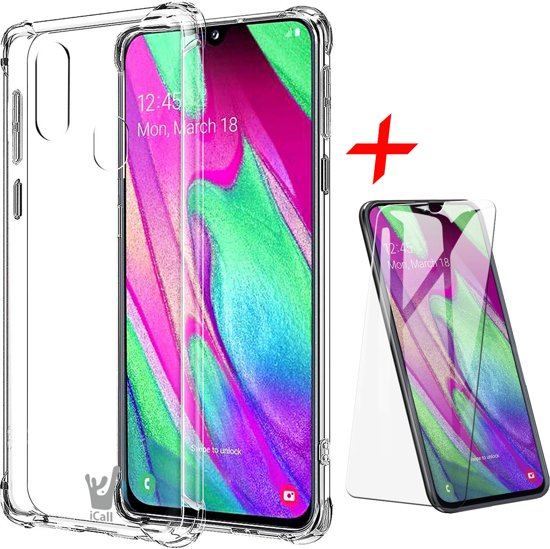 iCall - Samsung Galaxy A40 Hoesje + Screenprotector Case-Friendly - Transparant Shockproof Case