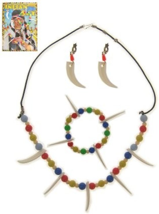 Indianenset oorringen, ketting en armband