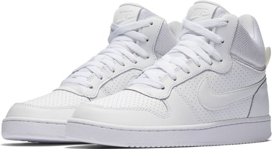 Nike Court Borough Mid Sneakers Dames - White/White-White - Maat 38