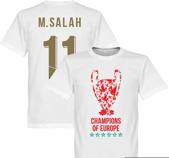 Liverpool Trophy M. Salah 11 Champions of Europe 2019 T-Shirt - Wit - S