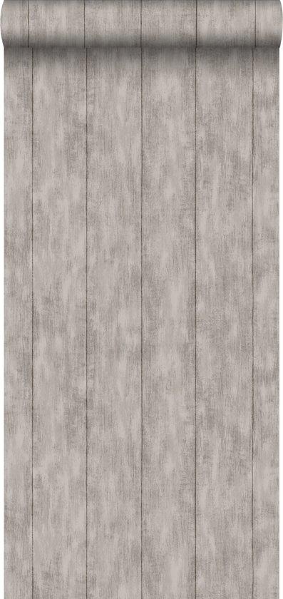 krijtverf vliesbehang sloophout taupe - 128010 van ESTAhome.nl