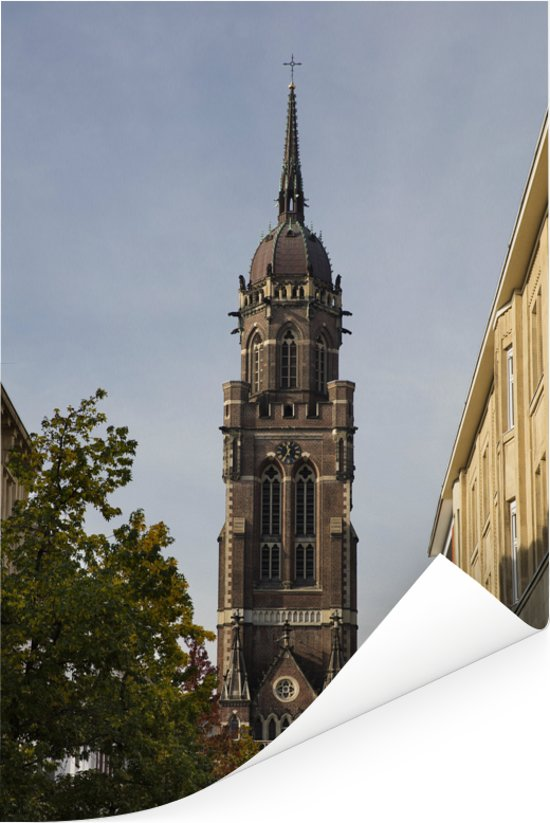 Kerk van St Dionysius in de Duitse stad Krefeld Poster 120x180 cm - Foto print op Poster (wanddecoratie woonkamer / slaapkamer) / Europese steden Poster XXL / Groot formaat!