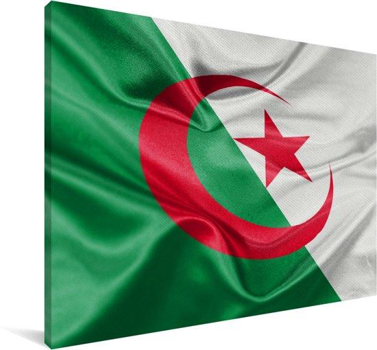 Close-up van de vlag van Algerije Canvas 30x20 cm - klein - Foto print op Canvas schilderij (Wanddecoratie woonkamer / slaapkamer)