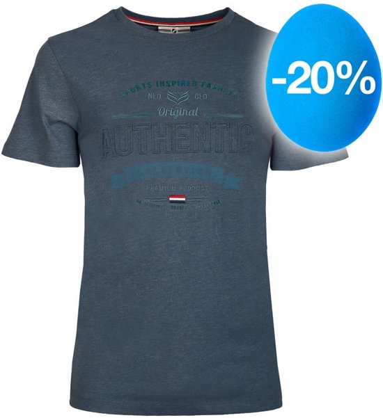 Heren T-shirt Domburg  -  Denim Blauw
