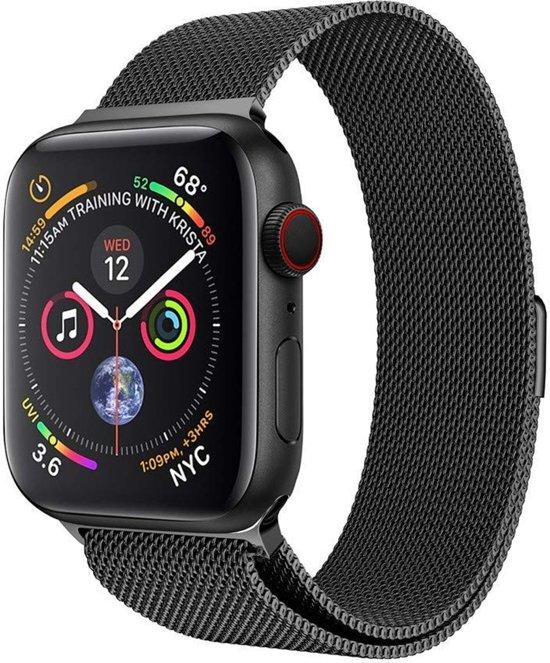 Milanese Loop Armband Voor Apple Watch Series 1/2/3/4 42/44 MM Iwatch Milanees Horloge Band - Zwart