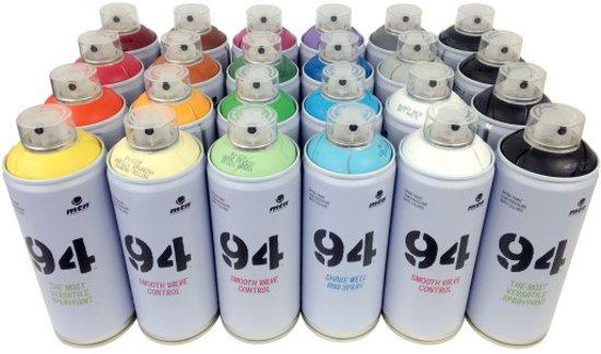 MTN94 Spuitbussen pakket - 24 kleuren lage druk en matte afwerking spuitverf - Graffiti verf voor vele doeleinden zoals voor diy, klussen, graffiti, hobby en kunst