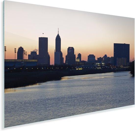 De skyline van het Noord-Amerikaanse Indianapolis bij zonsopgang Plexiglas 60x40 cm - Foto print op Glas (Plexiglas wanddecoratie)