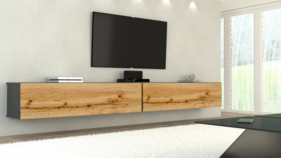 Tv Meubel Woon Xl.Az Home Tv Meubel Tv Kast Hardy Xl 280 Cm Antraciet Eiken