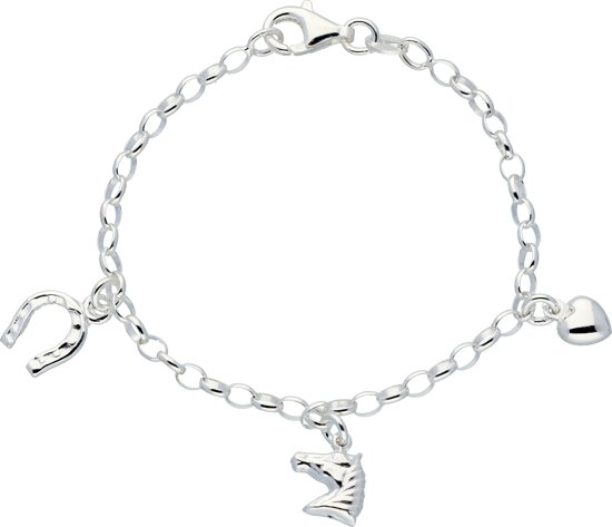 Lilly bedelarmband - zilver - ovale jasseron - paard - hoefijzer - hart - 16 cm