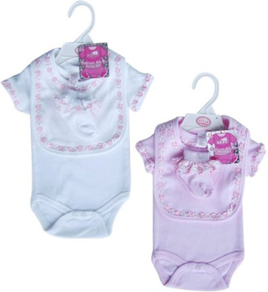 Soft Touch newborn cadeau set slabber + romper en sokjes wit
