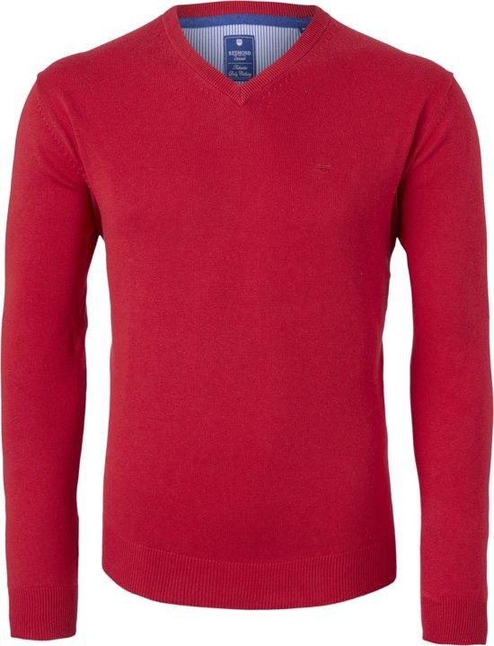 Redmond heren trui katoen - V-hals - rood -  Maat XL