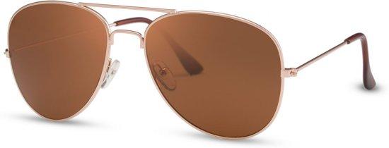 48fbbf1ea17218 Cheapass Zonnebrillen - Pilotenbril - Goedkope zonnebril - Bruine glazen
