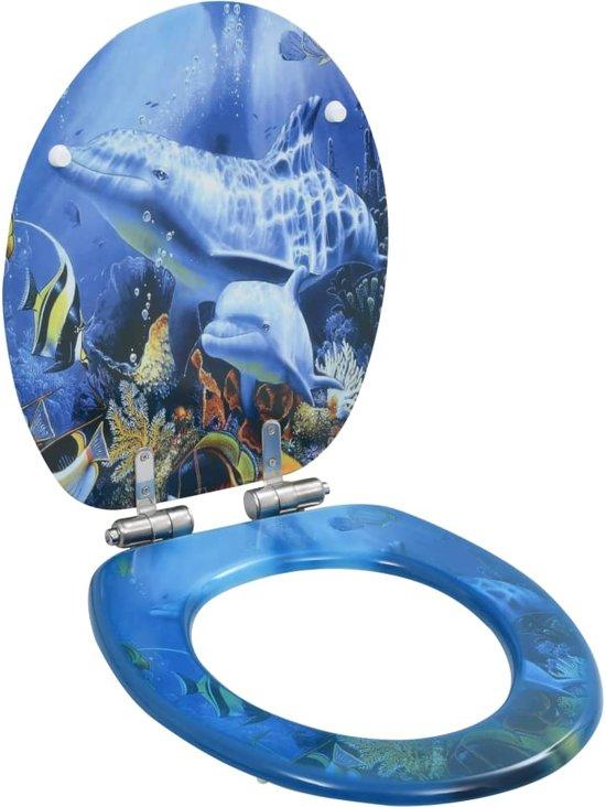vidaXL Toiletbril met soft-close deksel MDF dolfijnen print