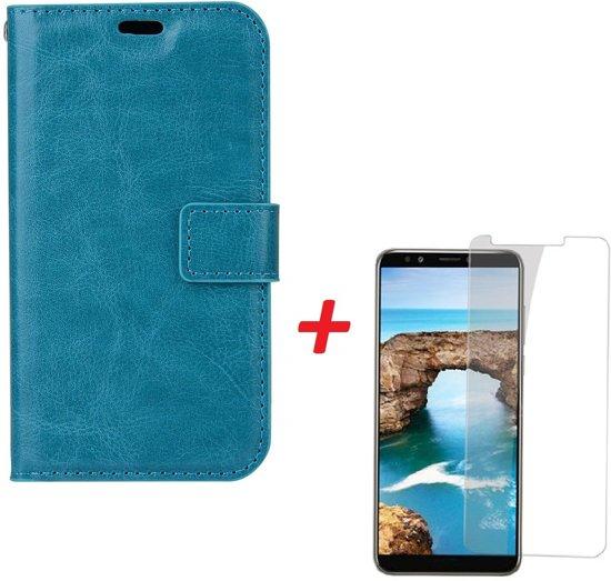 Huawei Y6 2018 Portemonnee hoesje Turquise met Tempered Glas Screen protector