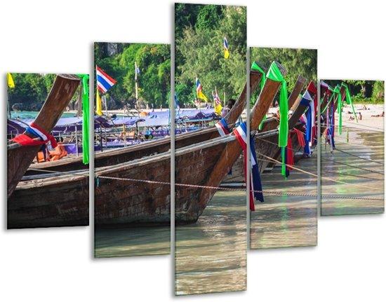Glas schilderij Boot, Natuur | Groen, Bruin, Gijs | 100x70cm 5Luik | Foto print op Glas |  F007201