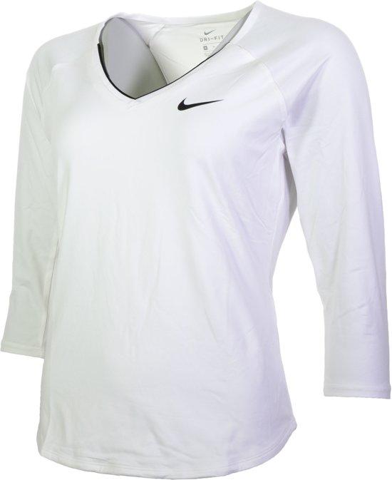 2689b9e6603 Nike Pure Tennis 3/4 Top Dames Sportshirt - Maat M - Vrouwen - wit