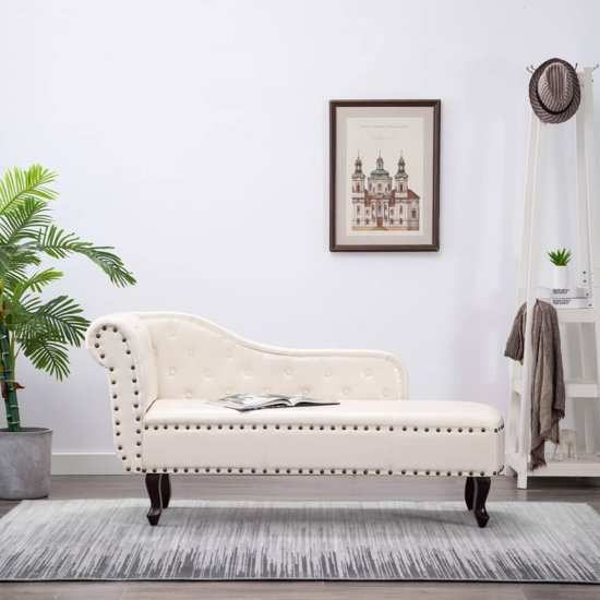 vidaXL - Chesterfield - Chaise longue - Met arm - wit
