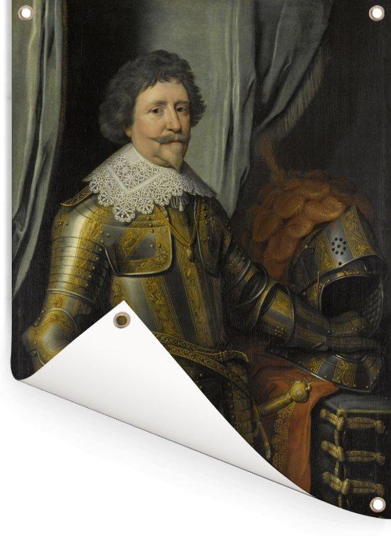 Portret van Frederik Hendrik prins van Oranje - Schilderij van Michiel Jansz van Mierevelt Tuinposter 60x80 cm - Tuindoek / Buitencanvas / Schilderijen voor buiten (tuin decoratie)