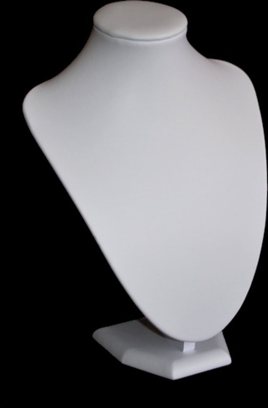 Ketting display hals wit lederlook 25 cm