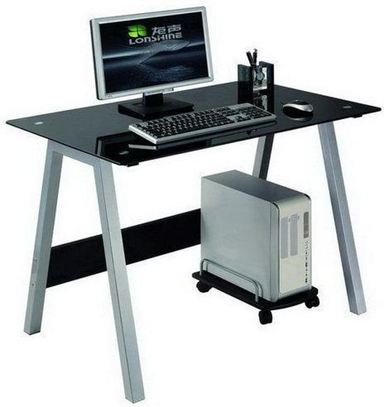 Glazen Computer Meubel.Hjh Office Delphi 100x70 Bureaus Zwart Aluminium