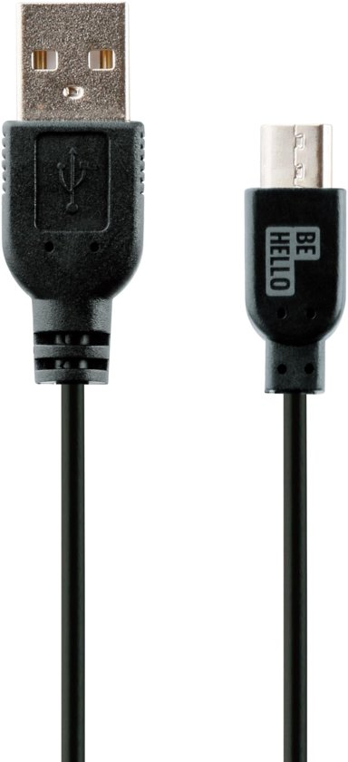 BE HELLO Oplaadkabel USB-Micro (1,2m) Zwart