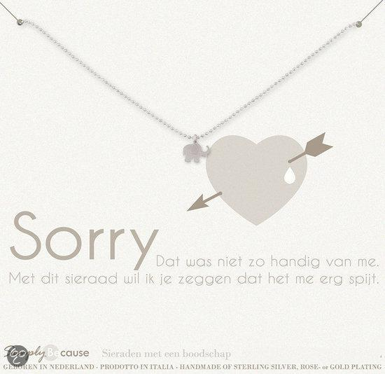 Simply Because Sorry! Ketting (zilver, bedel olifantje) 42 cm
