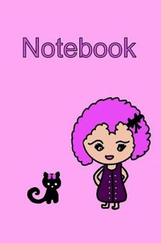 Notebook Kawaii Girl and Cat in Pink