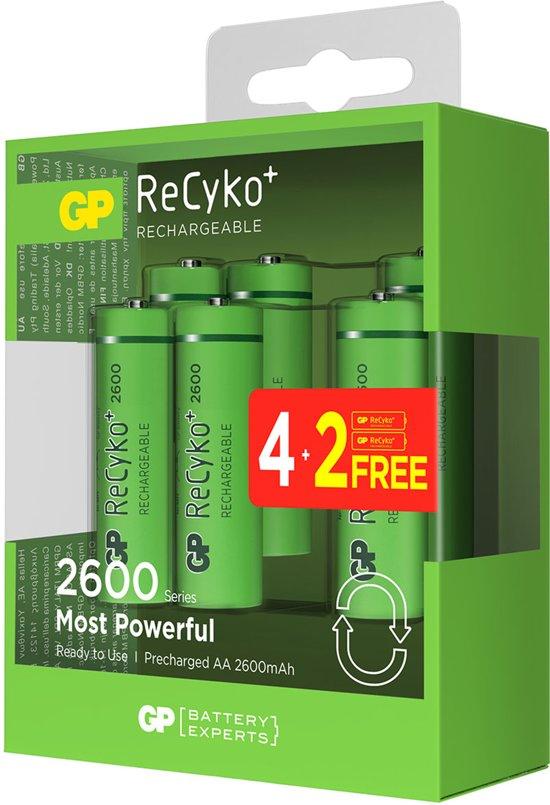 4+2 GRATIS GP Recyko+ AA/HR06 2600mah 1.2V NiMH Oplaadbare Batterijen