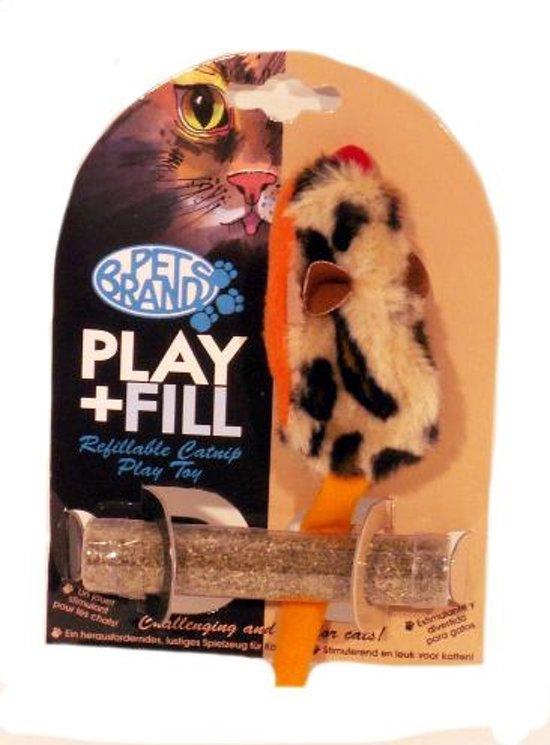 Petbrands Speelmuis met Catnip Kattenspeelgoed - hervulbaar - 6 x 2 x 10 cm