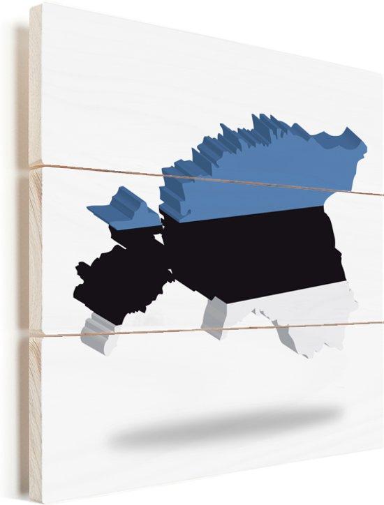 De vorm en de vlag van Estland Vurenhout met planken 20x20 cm - klein - Foto print op Hout (Wanddecoratie)