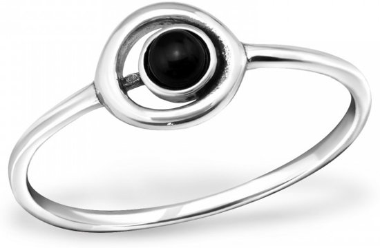 Silver Circle Ring with Semi Precious | Sterling 925 Silver (Echt zilver)