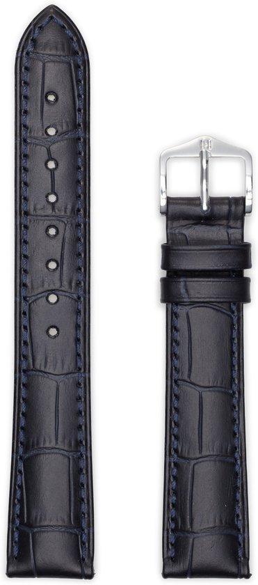 Hirsch Horlogeband -  Duke Donkerblauw - Leer - 20mm