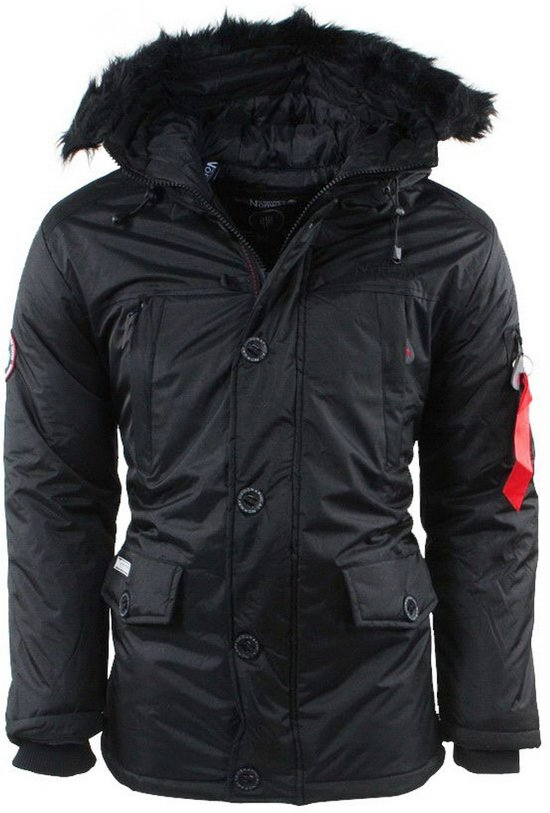 Geographical Norway Heren Winterjas met Bontkraag Dagobert Zwart