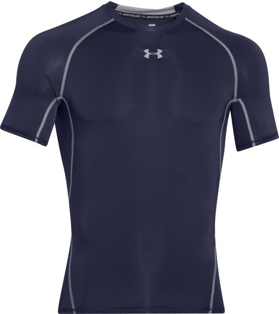Under Armour HG Armour SS Heren Sportshirt - Midnight Navy - Maat XL