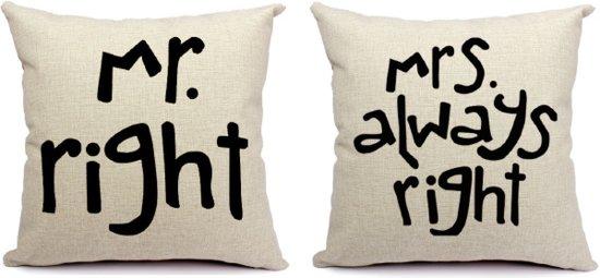 mr right mrs always right kussenhoezen. Black Bedroom Furniture Sets. Home Design Ideas