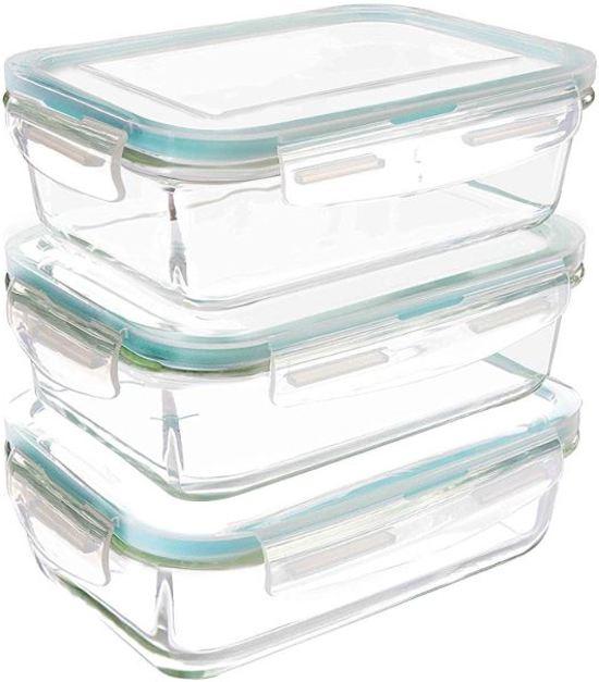 VMCA Glazen Vershoudbakjes - 6 stuks (3 bakjes + 3 deksels) - Doorzichtige deksels