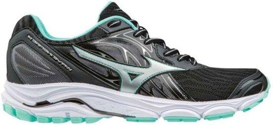 Mizuno Wave Inspire 14 zwart groen hardloopschoenen dames