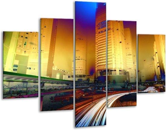 Glasschilderij Steden | Blauw, Geel, Oranje | 100x70cm 5Luik | Foto print op Glas |  F003454