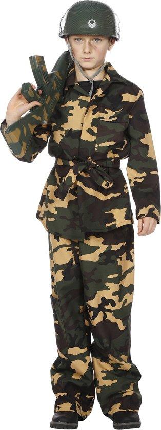 Carnavalskleding Soldaat Camouflage groen jongen Maat 176