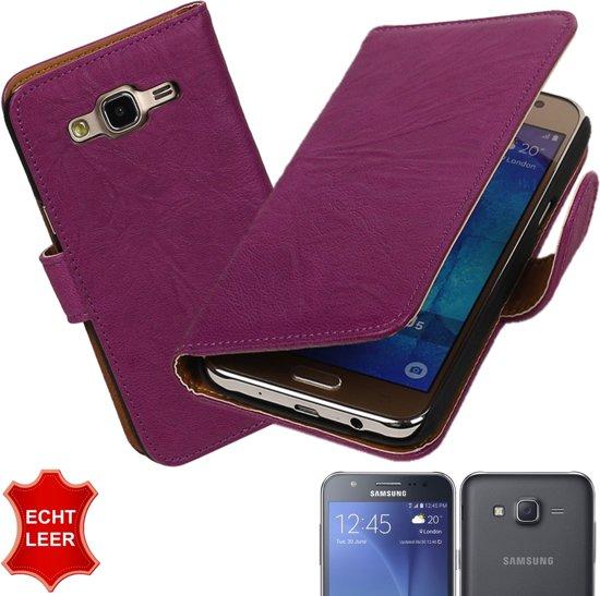MP Case Paars Echt leder hoesje voor Samsung Galaxy J5 Booktype - Telefoonhoesje - smartphonehoesje - beschermhoes. in Roebolligehoek