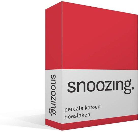 Snoozing - Hoeslaken - Percale katoen - Lits-jumeaux - 160x220 cm - Percale katoen - Rood