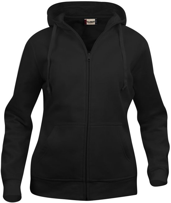 Dames hoodie met rits zwart s
