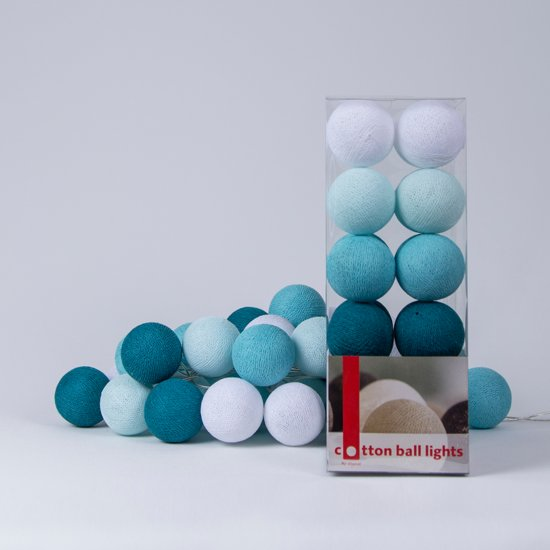 cotton ball lights lichtslinger aqua 20 cotton. Black Bedroom Furniture Sets. Home Design Ideas