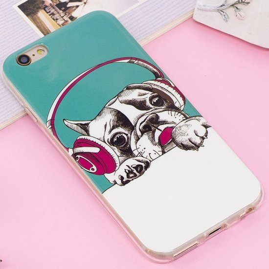 Let op type!! For iPhone 6 Plus & 6s Plus Noctilucent IMD Dog Pattern Soft TPU Back Case Protector Cover