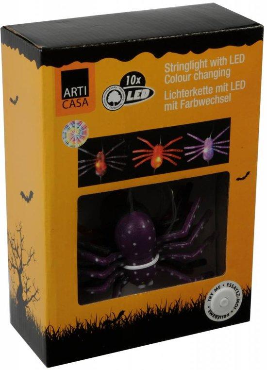 Halloween LED Lichtsnoer met 5 Grote Spinnen die van kleur wisselen!