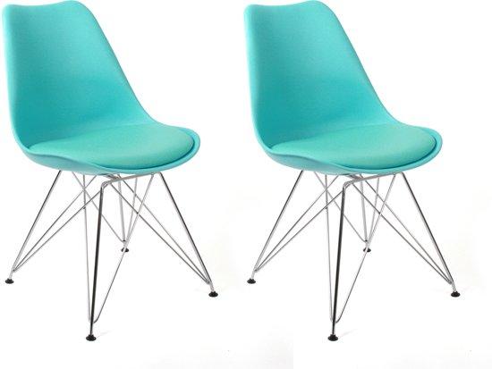Bol.com butik living consilium chrome stoel blauw set van 2