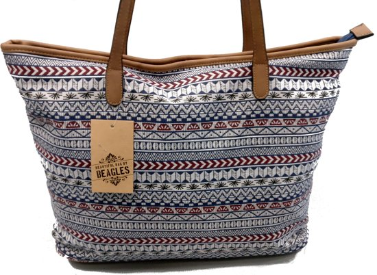 Beagles Canvas Shopper Aztec Blauw