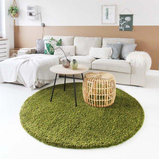 Hoogpolig vloerkleed shaggy Trend effen rond - groen 120 cm rond